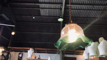 ビンテージガラスフリルジェード ペンダントライト